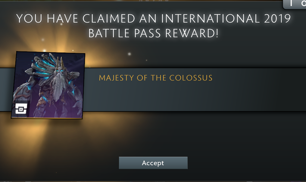 dota 2 the international 2019 ti9 majesty of the colossus prestige item tiny in-game client reward level 255